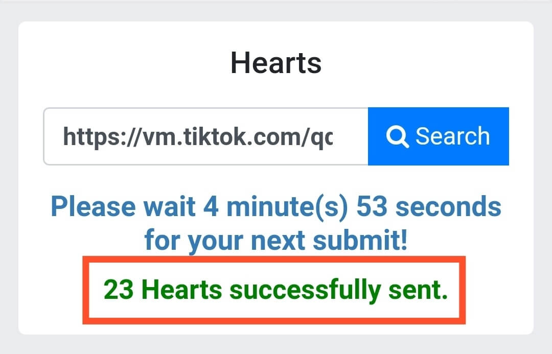 Hearts Successfully Sent