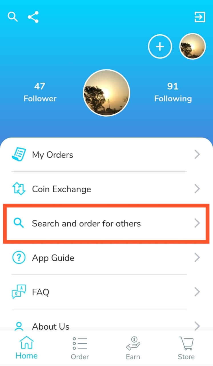 Search and Order Followers For Others